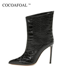 COCOAFOAL Sexy Women's High Heel Ankle Boots Woman Snakeskin Pattern Martin Boots Pointed Toe Autumn Winter Shoes Boots Black(China)
