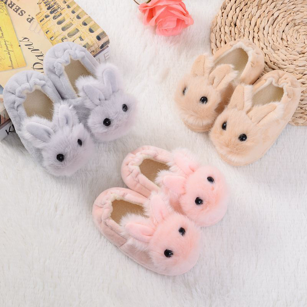 H7ed1b12dd1b247a484db820a54f7ba67M Sapatos para crianças de algodão, sapatos para crianças meninos e meninas de outono, chinelos fofos com orelhas de coelho, espessamento de bola, sapatos internos