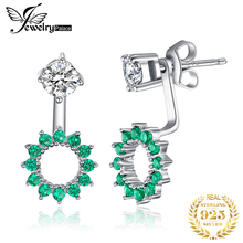 JewelryPalace Round 1.65ct Created Emerald Earrings Jacket Genuine 925 Sterling Silver Fine Jewelry Women Fashion Party Earrings jewelrypalace luxury pear cut 7 4ct created emerald solid 925 sterling silver pendant necklace 45cm chain for women 2018 hot