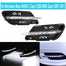 1 пара для Mercedes-Benz W204 c-класса C300 AMG Спорт 2007 2008 2009 2010 2011 Автомобильный светодиодный противотуманный светильник DRL Габаритные огни светильник s