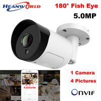 Heanworld HD 5MP IP Kamera PoE Fisch Auge 180 Grad Panorama IP kamera im freien 5,0 MP CCTV kamera ONVIF wasserdicht nacht vision