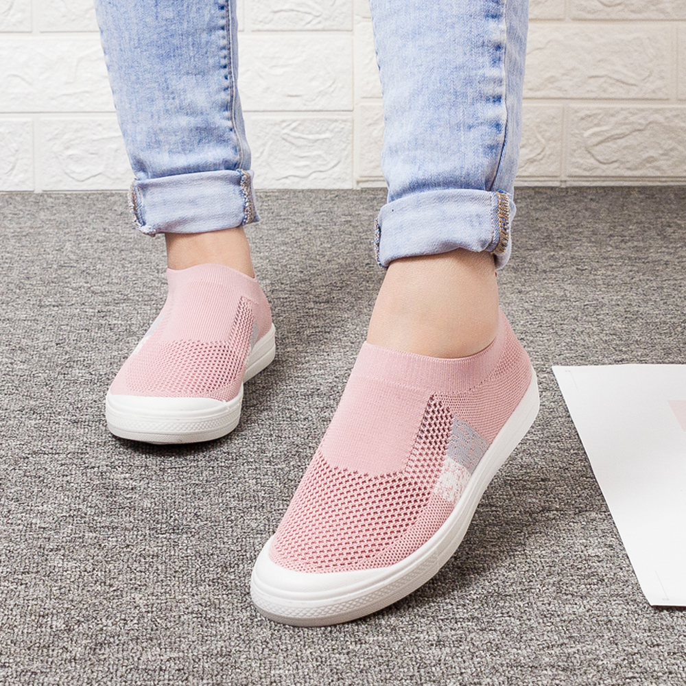 Women's Shoes LadiesShoes Flat Loafers Crystal Fashion Bling Women Sneakers Casual Ladies Slip On Breathable Casual Shoes