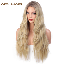 AISI HAIR 24 Inches Ombre Blonde Wig Synthetic Long Wavy Wigs