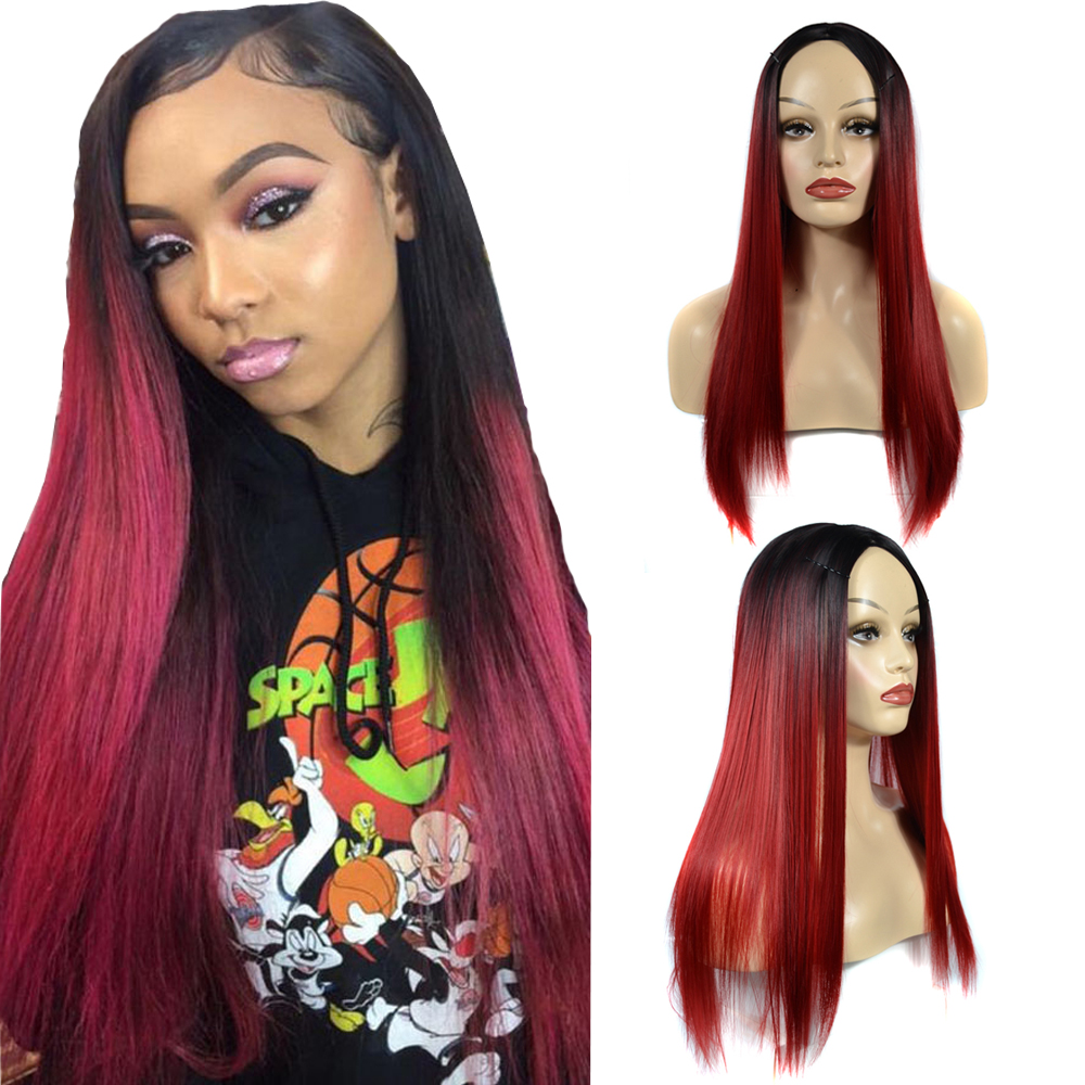ZM Hair 12 Colors Cheap Long 1b Burgundy/613 Straight Synthetic Wigs Ombre 2 Tone Glueless Middle Part Party Wig For Black Women