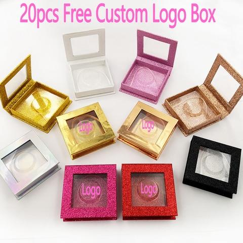 20pcs atacado livre logotipo personalizado caixas de embalagem caixa de cilios posticos cilios vison falso