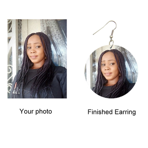 Image 2 - SOMESOOR 3 Sizes Custom Made Round African Wooden Drop Earrings Personalized Photos Printed Ear Dangle Wholesale For Women Gifts
