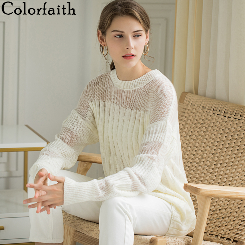 Colorfaith Women Sweater Dresses Pullover 2019 Autumn Winter Korean Style Fashionable Patchwork Transparent Elegant Casual SW412
