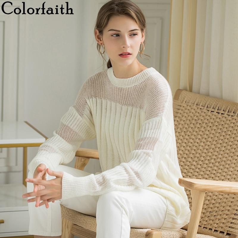 Colorfaith Women Sweater Dresses Pullover 2019 Autumn Winter Korean Style Fashionable Patchwork Transparent Elegant Casual SW412