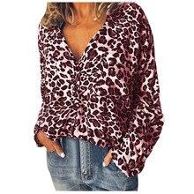 Women Fashion  Leopard Print Long Sleeve Tops Shirts Blouse 8.22