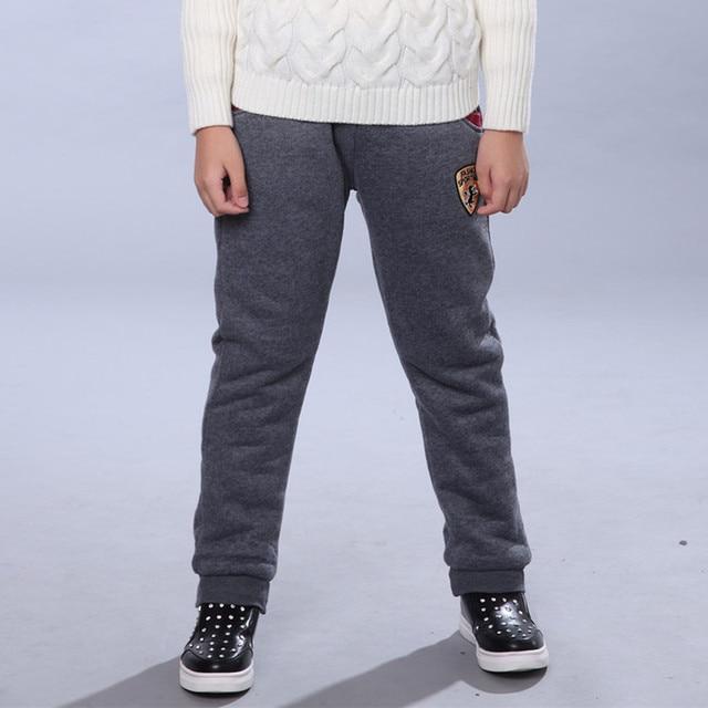 Winter Pants for Boy Kids Warm Thick Fleece Fur Lining Leggings Sport Trousers 4Y-14Y Teen Boys Straight Full Leggings Joggers 2