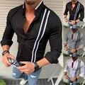 Мужская рубашка с длинным рукавом  Повседневная рубашка в полоску из бамбукового хлопка  оптовая продажа  Бесплатная доставка  Z4