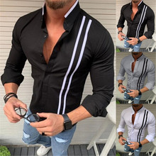 Men's New Fashion Bamboo Cotton Long Sleeve Striped Fit Shirt Casual Top Blouse