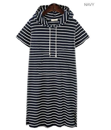 Европейский и американский стиль, большой размер, женское Полосатое трикотажное платье с коротким рукавом и разрезом - Цвет: navy