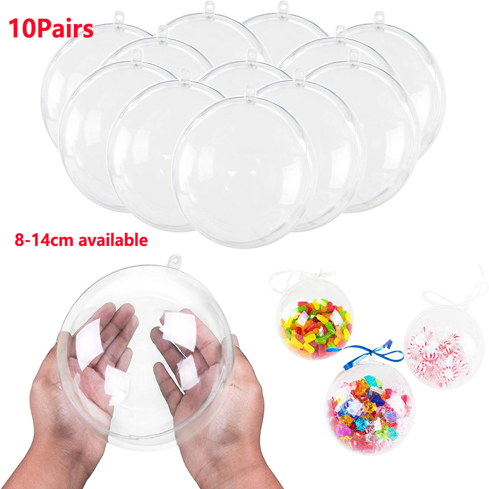 70-140mm 10Pairs Big Christmas Tress Decorations Ball Transparent Open Plastic Clear Bauble Ornament Gift Present Box Decoration