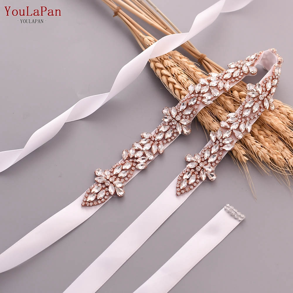 YouLaPan S429 rose gold belt wedding sashes for wedding dress rhinestone stretch belt belt for bridesmaid dress jewel sash