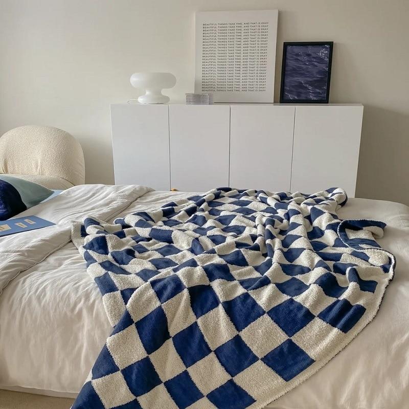 Nordic Soft Checkerboard Woven Blanket Single Sofa Cover Blanket Thin Nap Blanket Geometric Home Decoration Shawl
