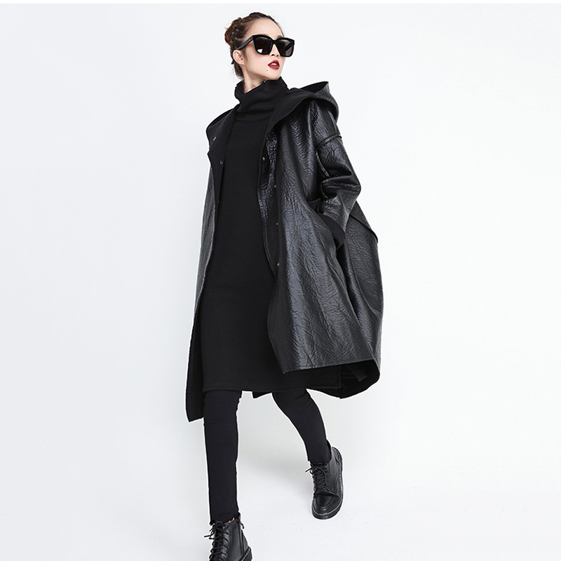 [EAM] Loose Fit Hooded Black Pu Leather Thick Oversize Jacket New Long Sleeve Women Coat Fashion Tide Autumn Winter 19 JG637 4