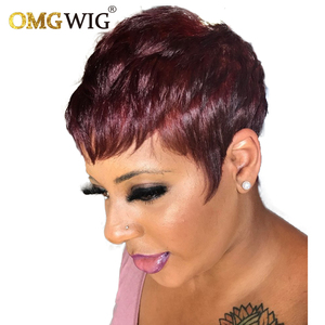 Short Red Burgundy 99J Color Bob Pixie Cut Wavy Non Lace Front Human Hair OMG Wig With Bangs For Black Women Remy Brazilian hair
