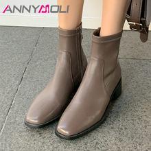 Annymoli/ботильоны женские ботинки на среднем квадратном каблуке
