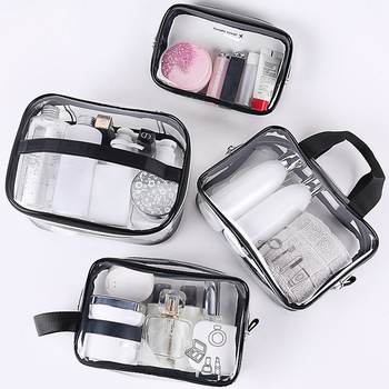Transparent PVC Cosmetic Bag Women Make Up Case Travel Clear Makeup Beauty Wash Organizer Bath Toiletry Storage Cosmetic Bag hanging travel cosmetic bag women zipper make up bag polyester high capacity makeup case handbag organizer storage wash bath bag