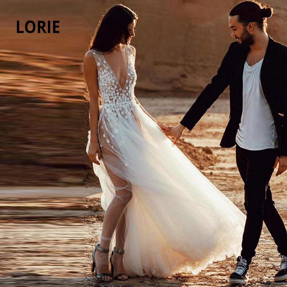 LORIE Beach Bridal Gown 2020 Sexy V-neck 3D Appliqued With Soft Tulle Boho Wedding Dresses A-line Sleeveeless Romantic