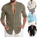 Прямая поставка; модная мужская повседневная однотонная пляжная блуза с длинными рукавами и круглым вырезом на пуговицах; Повседневное пла...
