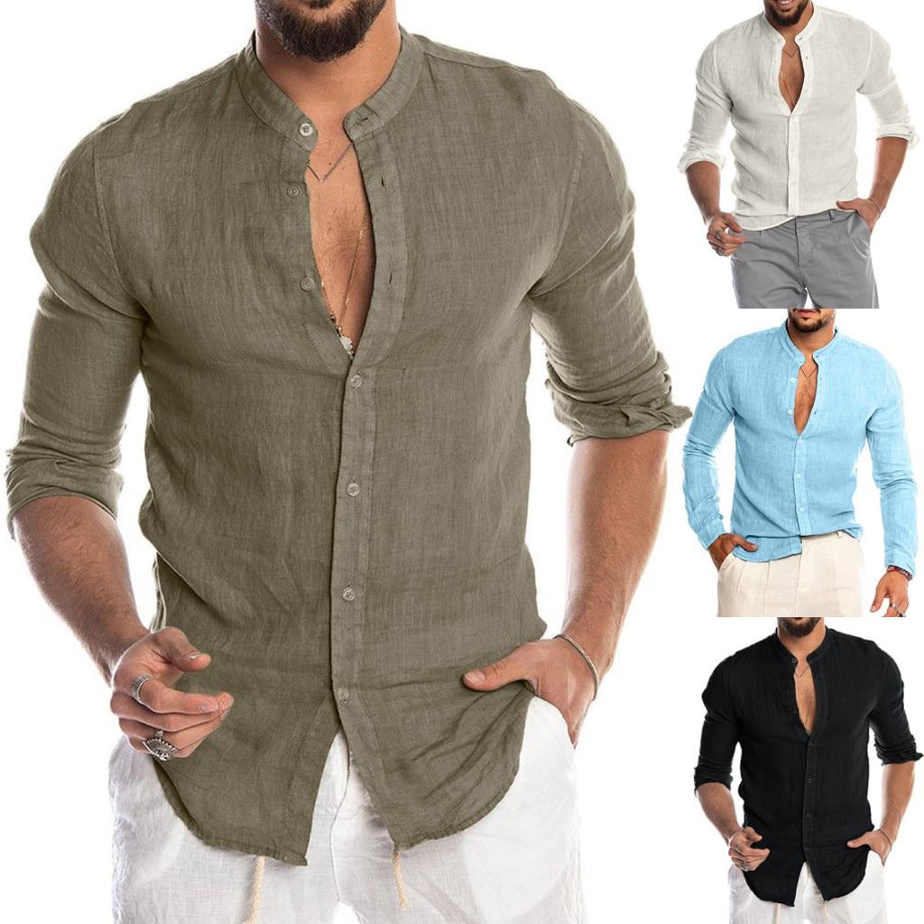 Dropshipping Fashion Men's Casual O-Neck Button Solid Beach Long Sleeve Top Blouse Casual Dress Women Korea Style