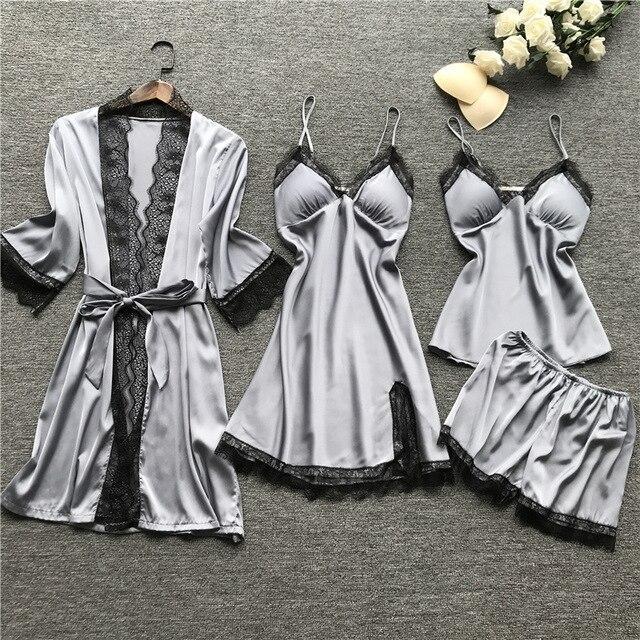 Пижамы QWEEK для женщин, домашняя одежда, шелковые сексуальные кружевные пижамы, атласные пижамы, домашняя пижама, лето 2020, с нагрудными накладками