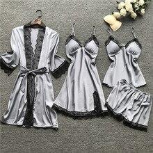 Qweek Pyjama Voor Vrouw Thuis Kleding Zijde Sexy Kant Pyjama Satijn Nachtkleding Pijama Homewear Zomer 2020 Met Borst Pads