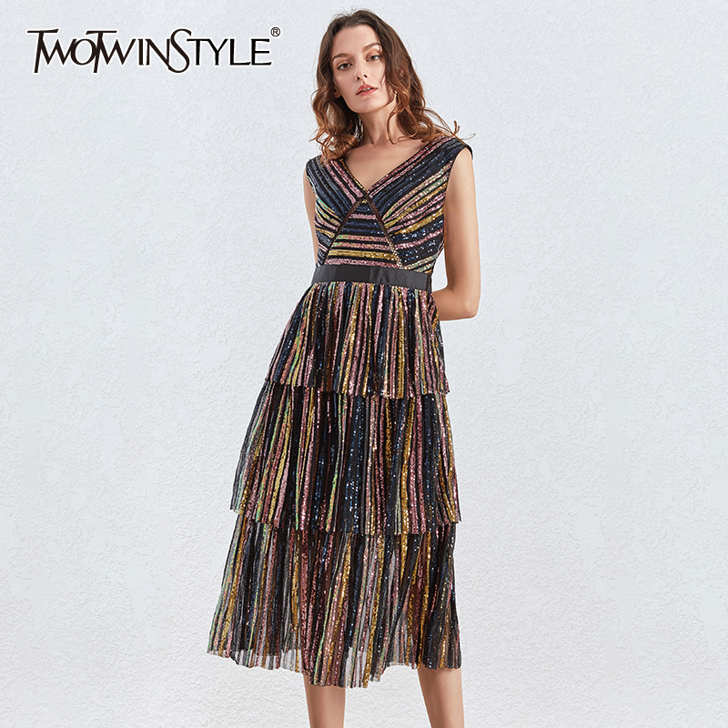 TWOTWINSTYLE Patchwork Sequin Striped Dress For Women V Neck Sleeveless Sexy Party Dresses Female 2020 Autumn Fashion New