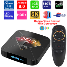 X10 Plus Android 9.0 Smart TV Box Allwinner H6 Quad Core 4GB RAM 64GB ROM USB3.0 WIFI H.265 HDR 6K Resolution Set Top Box
