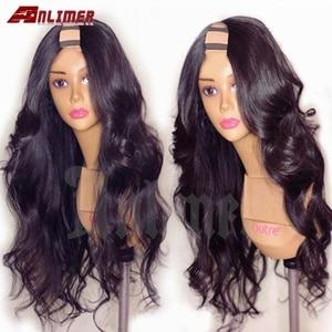 250 densidade completa onda do corpo peruca brasileira remy u parte peruca de cabelo humano 2*4 wigs wigs parte do meio u forma perucas de cabelo humano para mulher