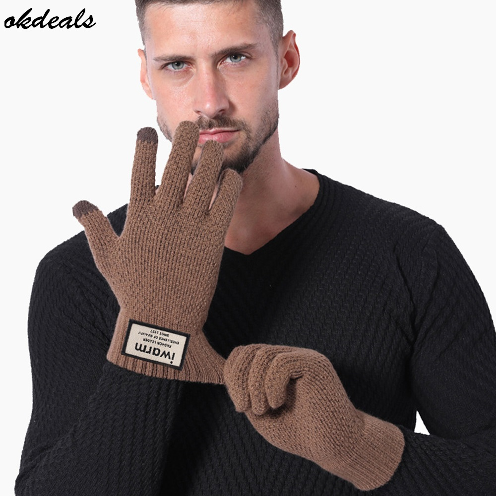 Touch Screen Knitted Gloves Winter Autumn Men High Quality Male Thicken Warm Wool Cashmere Solid Men Gloves Mitten handschoenen 2