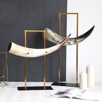 Luxurious Natural Horn Sculpture With Golden Metal Holder Modern Statue Horns Figurine Art Crafts Home Decor Accessories Gift