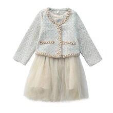 Dfxd meninas adolescentes conjuntos de roupas 2020 primavera moda princesa casaco cardigan + malha retalhos colete vestido 2pc crianças terno festa 3-10yrs
