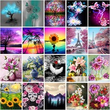 5D Diy Diamond Painting Flower Tree Cross Stitch Kit Diamond Mosaic Embroidery Landscape Tower 3D Painting Round Diamond Gift