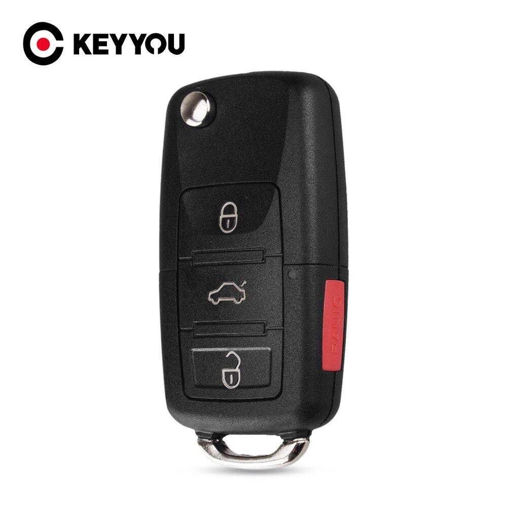 KEYYOU plegable 4 3 + 1 botones AUTO Flip remoto clave Shell caso del llavero para Volkswagen Jetta Vw Golf Passat sin hoja