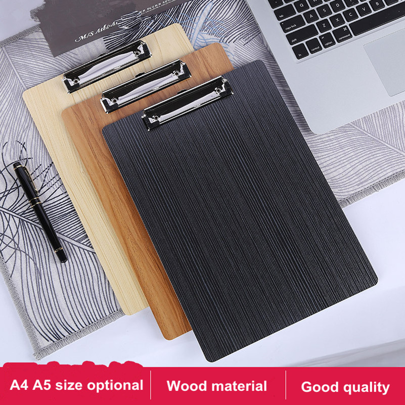 A5 Clipboard Writing Pad File/Wooden File Clip Board Portable Menu Clipboard With Plate Clip Office/School Supplies