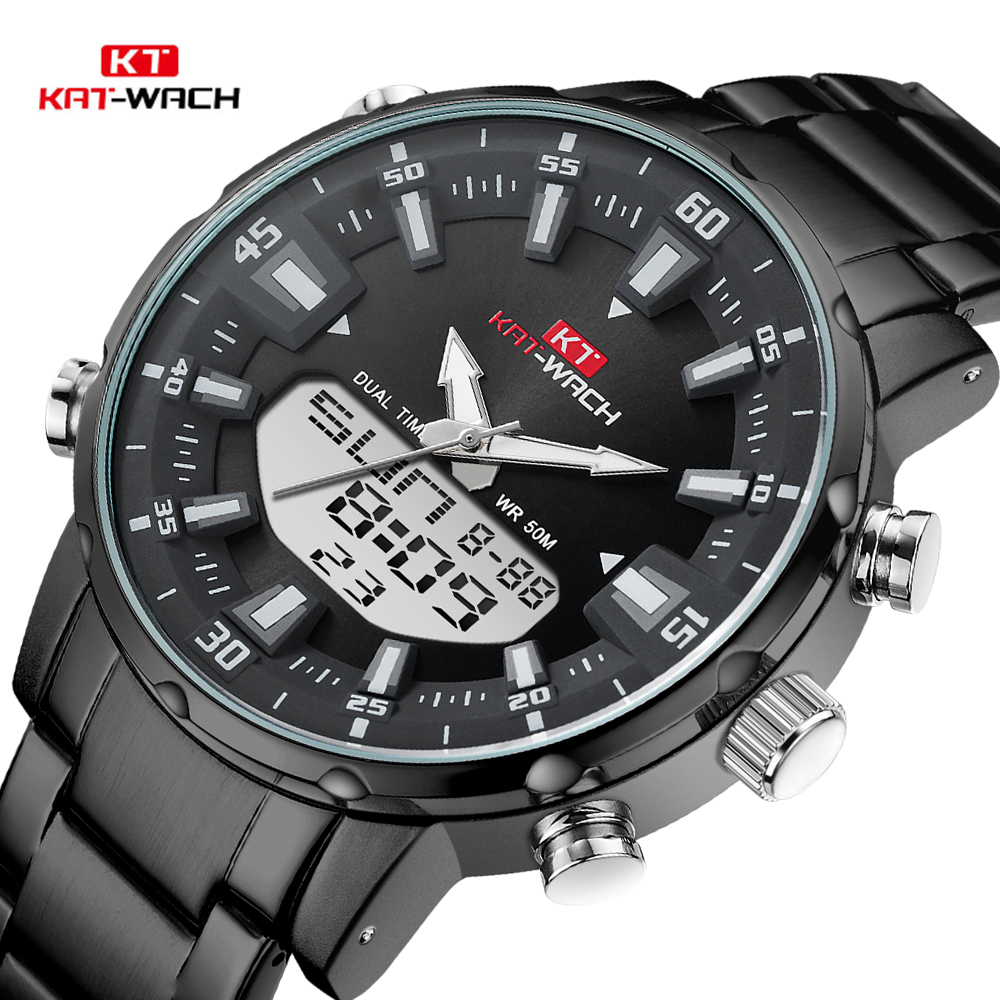 KAT-WACH Top Brand Men Watch Waterproof Sports Digital Watches Men LED Steel Military Quartz Watch For Men Wristwatch Relogio