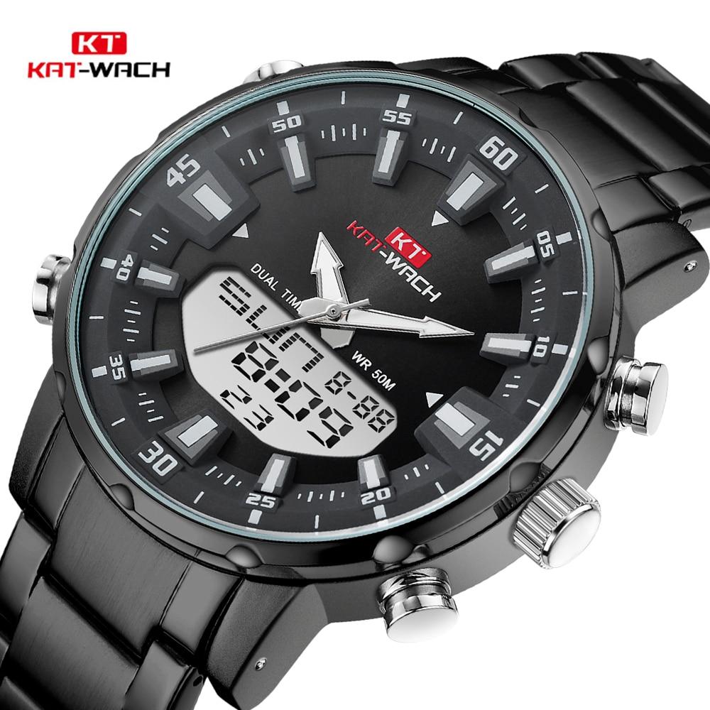 KAT-WACH Top Brand Men Watch Waterproof Sports Digital Watches Men LED Steel Military Quartz Watch For Men Wristwatch Relogio