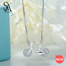 купить SA SILVERAGE Real 925 Sterling Silver Bicycle Necklaces/Pendants Chokers Bicycle Necklaces For Women 925 Silver Necklaces дешево