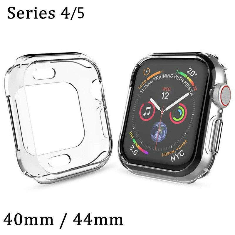 Watch Cover for Apple Watch 4 Case 44mm 40mm Series 5 Soft Slim TPU Ultra-thin Transparent Silicone Protective Watch Accessories