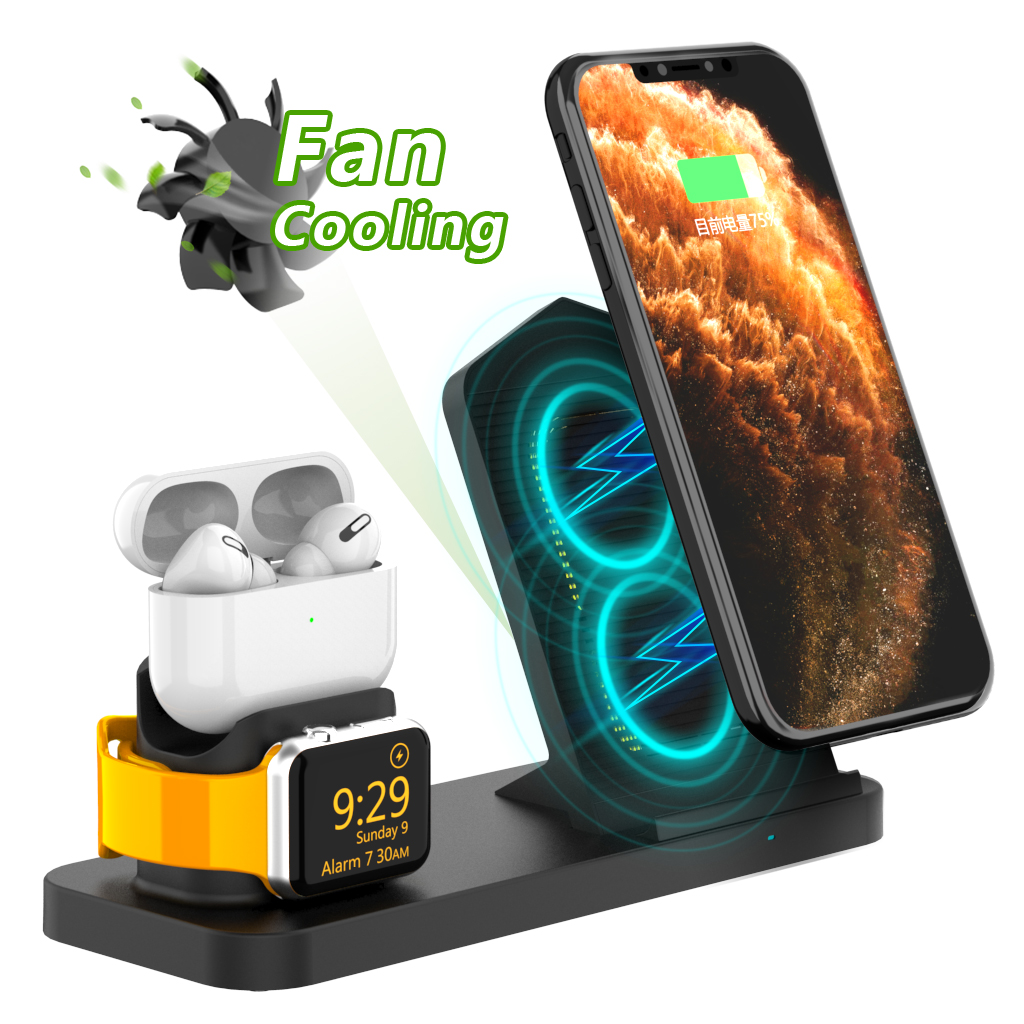 Fan Cooling 3 in 1 Qi Wireless Charger for Apple iPhone Charging Dock Fast Charging Dock Station for Apple Watch Airpods Pro Max|Wireless Chargers| |  - title=