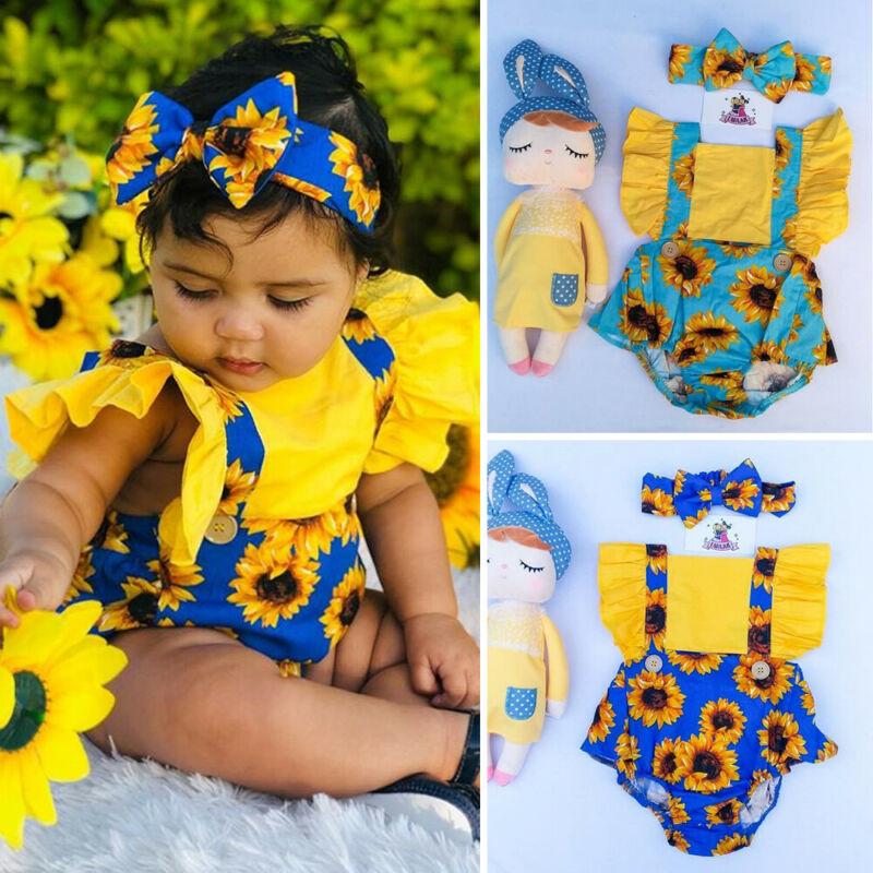 New 2020 Summer Newborn Baby Girl Clothes Sunflower Sleeveless Romper Jumpsuit+Headband Outfits