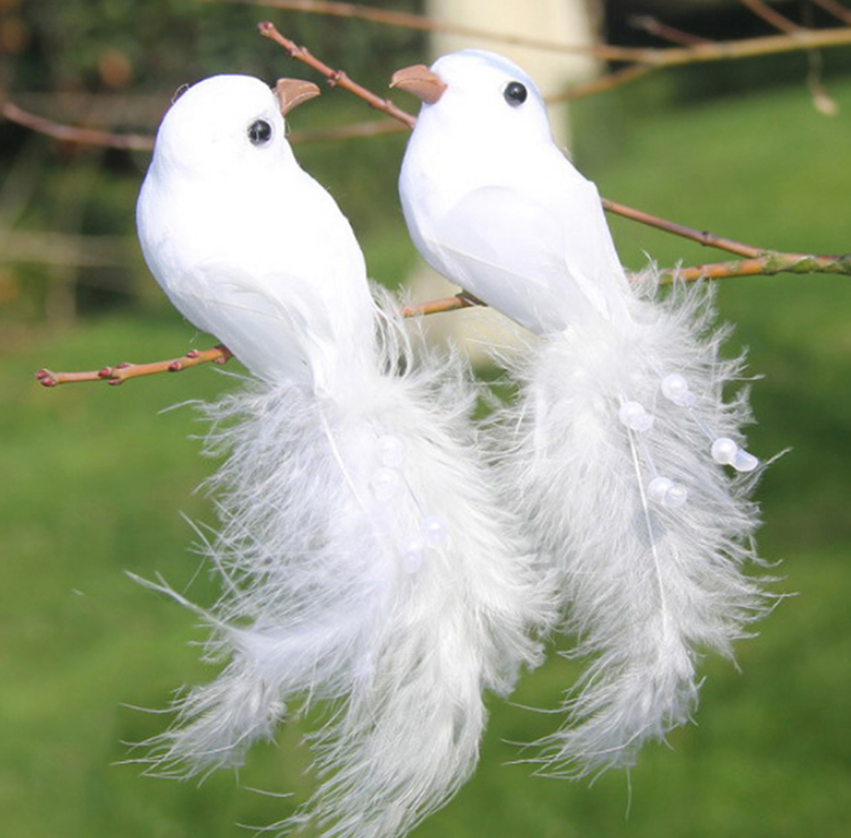 Palomas artificiales en blanco Artificial, plumas de espuma, ornamento de boda, Decoración de mesa de manualidad casera, juguete de pájaro, decoración de boda