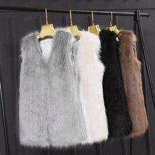 Vest Coat Jackets Faux-Fur Autumn Winter Fashion Women Sleeveless Slim Outerwear