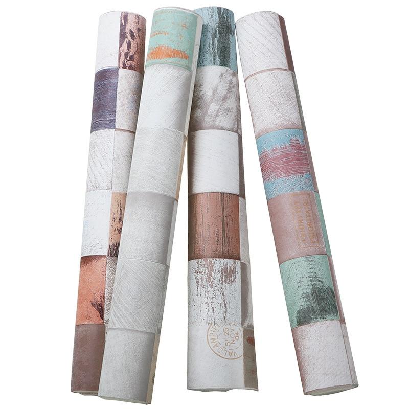 PVC HD motif coeur blocs de bois papier peint antique 3D grain de bois vêtements magasin restaurant fond mur art décoration de la maison - 5