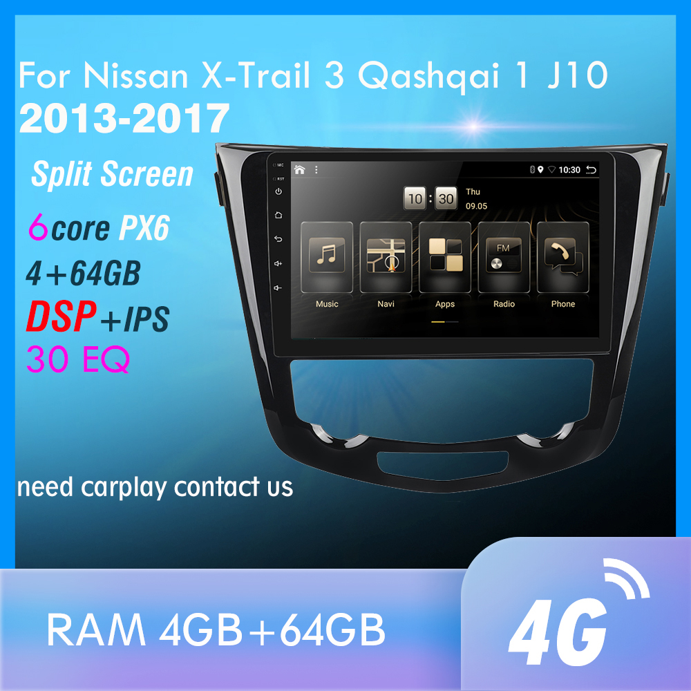 2din For Nissan X-Trail X Trail 3 T32 Qashqai 1 J10 2013-2017 Car Radio Multimedia Video Player Navigation GPS PX6 Android 9.0