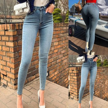 2021 New Fashional Simple And Casual Women Solid Colour Pockets High-Waisted Slimming Skinny Jeans Ladylike Long Pencil Trousers 1