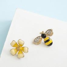Korean temperament personality Bee Earrings girls simple earrings ornaments yellow flowers asymmetric Mori